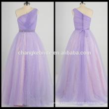 Real Photos One Shoulder Beaded Evening Dress Floor-length Pleats Party Dress