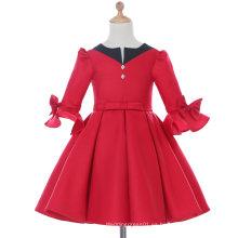 Manga larga blanco / rojo vestido de niña de diseñador de diseño para la boda y ceremonial