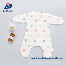Super breathable yarn dyed jacquard organic cotton sleeping bag for baby