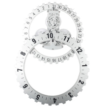 Big White Silver Gear Reloj de pared para oficina
