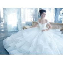 Sexy Off Shouler Organza princesa vestidos de novia vestido de bola (WDJL-1029)
