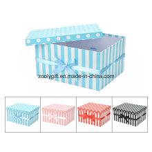 Wholesale DOT / Stripe Printing Paper Gift Nesting Box with Ribbon