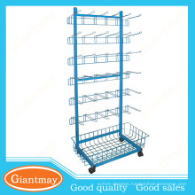 wire hooks and basket metal display stand for hanging item