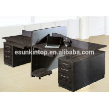 Oak wood finishing black color Screen office furniture desk