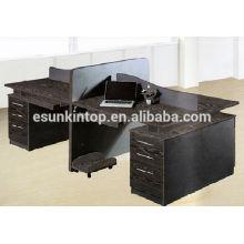 Madeira de carvalho que finaliza a cor preta Ecrã mesa de móveis de escritório