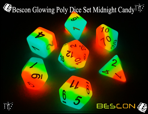 Bescon Glowing Poly Dice Set Midnight Candy-3