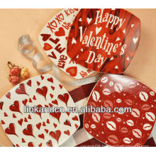 KC-00368/12 ceramic pizza plate/red heart picture plate set