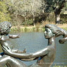 Metal naked woman statue bronze mother and child sculptures