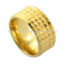 Oro barato de la joyería de la manera plateó el anillo de giro del acero inoxidable