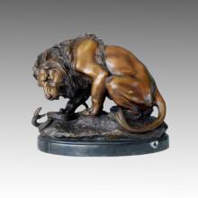Animal Bronze Sculpture Lion Snake Carving Decor Brass Statue Tpal-055