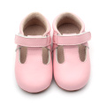 Pink Kids Genuine Leather Girl Crib T-bar Shoes