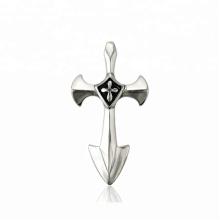 33638 xuping moda acero inoxidable joyería negro pistola color elegante cruz colgante