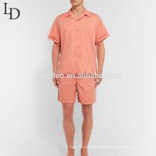Pijama de los hombres de manga corta de algodón de dos piezas de verano de lavado caliente venta caliente