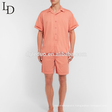 Hot sale washed cotton summer two piece short sleeve men's pajamas