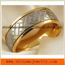 Shineme joyería de alta calidad de titanio tallado anillo de oro 18k (TR1860)
