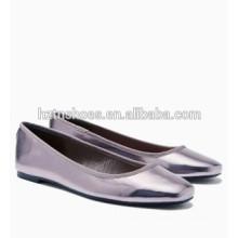 Оптовая Женская обувь Мода Серебряная площадь Toe Балет Квартиры для женщин