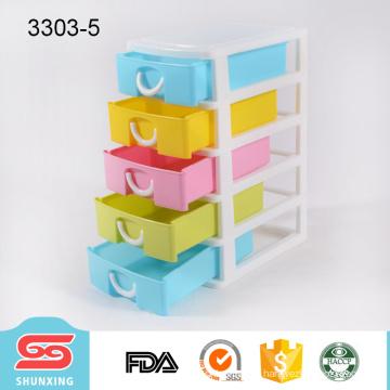shunxing multi colors 5 tier plastic drawer for tabletop storage box