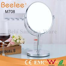 Espejo de lupa de maquillaje de doble cara redondo independiente de latón