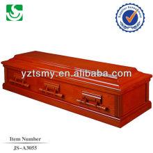 Caixão de boa qualidade sólido vermelho cereja folheado de madeira MDF