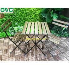 Fácil de transportar plegable coloridos muebles al aire libre tabla Acacia madera marco de metal