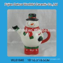 2016 fábrica de vendas diretas teapot de cerâmica na forma de boneco de neve