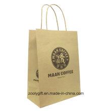 Natural Brown impresión de logotipo Kraft Carrier Gift Bag con mango torcido