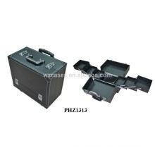 PVC leather rolling beauty case with 6 trays inside from China manufacturer