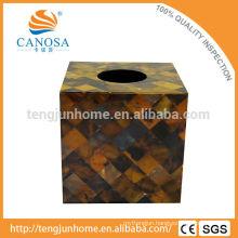 Trade Assurance Natural Craft Pen Shell Square Tissue Box Holder