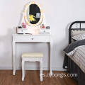 LED light Vanity Table Set 5 Drawers Makeup Dressing Desk with Cushioned Stool Set (White)