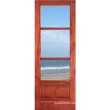 Wood Framed 3 Lite Glass Kitchen Door Design
