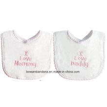 OEM Produce Customized Logo Letters Embroidered Cotton White Baby Bandana Bib
