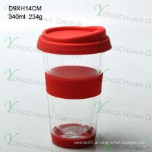 Boca-soprado vidro de parede dupla 300ml, resistente ao calor Vidro de borosilicato alto para beber, copo de café de grau alimentar 350