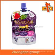Flexível stand up saco resealable suco bebida saco saco bolsa com bico top fabricante da china