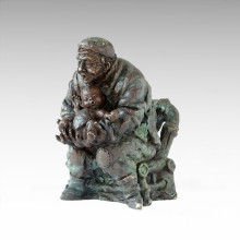 Eastern Statue Village Life Grandparent-Grandchild Bronze Sculpture Tple-050