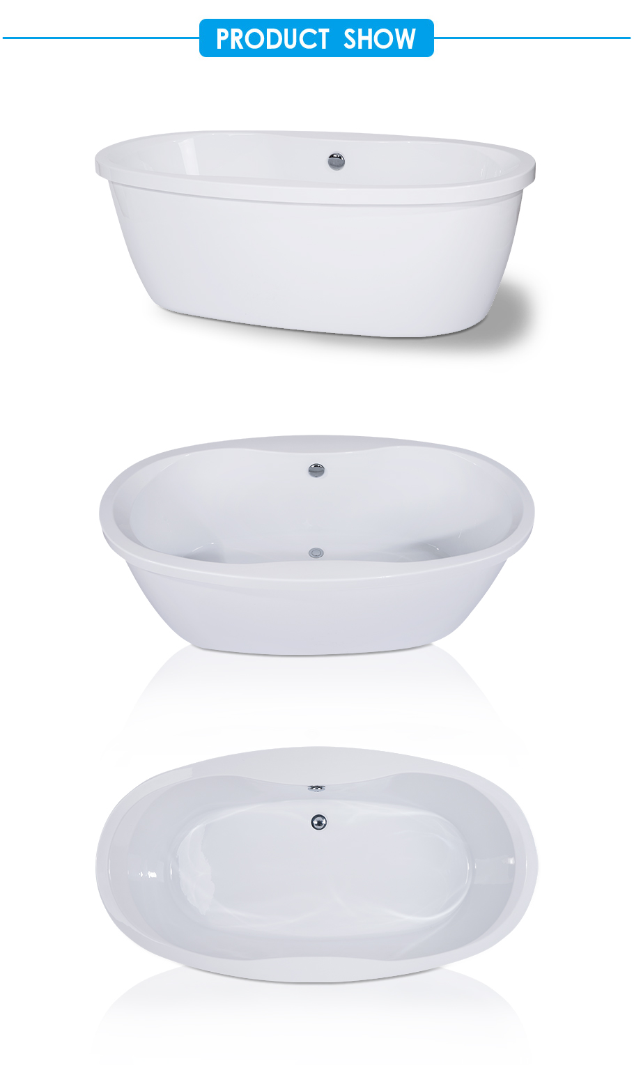 Center Drain Bathtub with Fluted Shroud in White