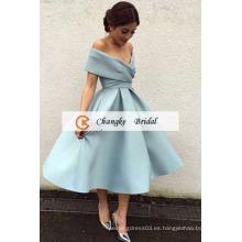 2017 Satén de la llegada de la alta calidad plisados vestido de bola de la longitud del té Vestidos por encargo del baile de fin de curso
