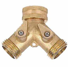 brass 2 way hose connector with valve gardening