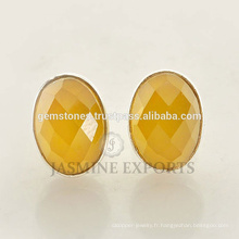 Nouvelle forme 925 Sterling Silver Yellow Chalcedony Gemstone Round Stud Bezel Earrings