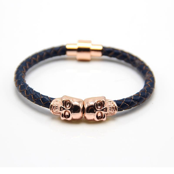 Mens North Skull Metal Charm Black Leather Bracelet