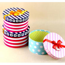 Elegante Stripe / DOT impresso Round Hat Box com fita