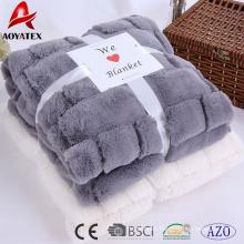 new design super soft long pile pv fleece embossed blanket