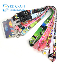 Free sample cell phone neck strap breakaway id card holder dye sublimation printed anime pink polyester lanyard with logo custom