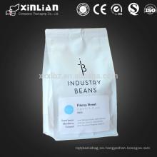 Bolsa de café resellable blanco matte forrado de 12 oz