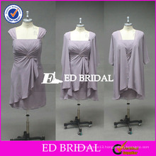 ED Bridal Real Pictures Cap Sleeve Chiffon Sheath Short Mother Of The Bride Dress With Jacket