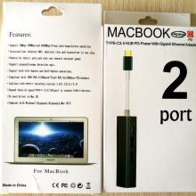 Hub de Acesso à Rede Multicor Gigabit para MacBook, Cor: Preto
