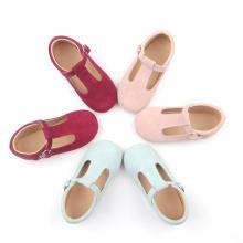 Chaussures de bar en T pour enfants en cuir rose