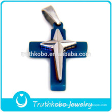 2012 Wholesale Two Tone Stainless Steel Jesus Christ Double Dorje Cross Pendant for Unisex