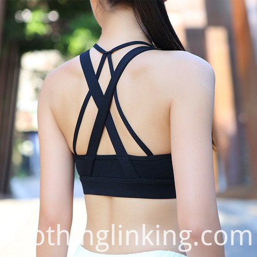 Cross Back Strappy Sports Bra Yoga Workout Bras