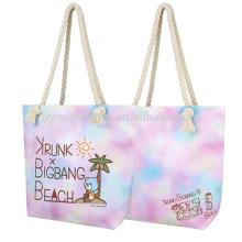 Мода красочные ЭКО-дружественных дешевые прочный холст пляжная сумка