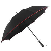 Promotional Large Size Windproof Stick Golf Umbrella with Safety Reflective Strip